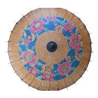 Paper Parasol Floral Design Pink Blue Asian Influence