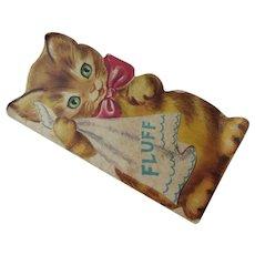 1949 Child's Booklet Fluff the Kitten Bathing Misadventures Cat Shaped Whitman Publishing Free Shipping USA