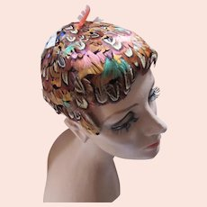 Feather Half Hat Mid Century Autumn Colors Union Made
