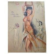1950 Era Artist's Sketchbook by K O Munson Pin Up Girls Perpetual Calendar Brown & Bigelow