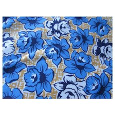 Vintage Feed Sack Daffodils in Soldier Blue Black White on Gold