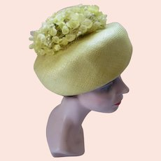 Lively Mid Century Bouffant Hat in Lemon Yellow Crown of Flowers