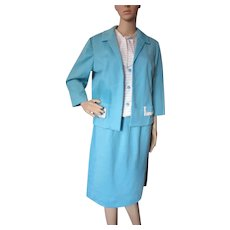 Three Piece Knit Set Skirt Jacket Top Puritan Forever Young Turquoise White Size L
