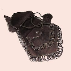 Turn of the Century Pouch Purse in Dark Chocolate Suede Iridescent Beading