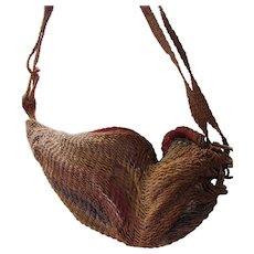 Woven Yarn Market Bag or Tote Sling or Bladder Shape Earth Tones Hippie Boho Style
