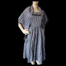 Mid Century Sundress in Black and Gray Stripe with Black Pom Poms and Matching Wrap Stole Size Small