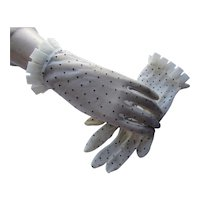 Sheer Gloves in Oyster with Black Dots and Ruffle Edge