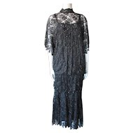 Two Piece Cocktail Dress in Black Beading and Lace Size Large