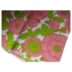 Vintage Fabric Pop Art Style with Large Blossoms Coral and Lime Green Sears Roebuck