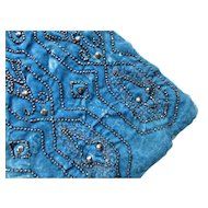 Remnant Deco Style Dress in Deep Teal Velvet and Faceted Steel Beads for Doll Clothing or Repair