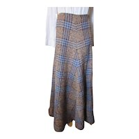 Maxi Skirt Blue Brown Plaid Saks Fifth Avenue Potpourri 1980 Made in Italy