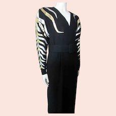 1980 Era Black Dress Gold & Silver Leaves Fronds Fernando Pena