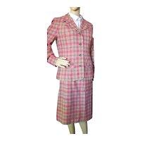Classic Pendleton Jacket Skirt Set Red Green Plaid