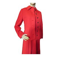 Cherry Red Knit Jacket Dress Set 1970 Era
