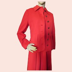 Cherry Red Knit Jacket Dress Set 1970 Era
