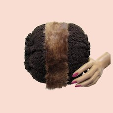 Muff in Faux Brown Curly Lamb and Fur Wristlet Handle