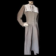 1980 Taupe Corduroy Dress with Lace Collar Retro Victorian Style