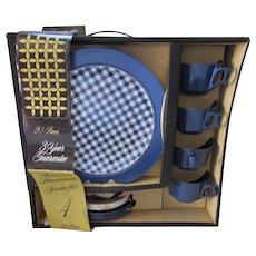 Melamine Blue Gingham Dinnerware 20 Pieces Never Used in Original Box