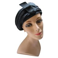 Mid Century Black Hat with Woven Bands of Millinery Cellophane and Gros Grain Ribbon Marshall Field Hat Bar