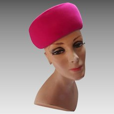 Striking Pill Box Hat in Bright Fuchsia Velvet by AMI of New York Marshall Field and Company