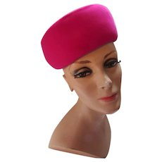 Striking Pill Box Hat in Bright Fuchsia Velvet by AMI of New York Marshall Field and Company