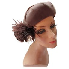 Modified Velvet Beret Hat in Cocoa Brown with Feather Puff Marshall Field & Company