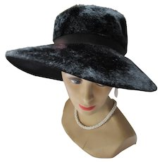 Black Wide Brim Slouch Hat Made in England for Marshall Field Co