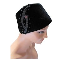 Black Velvet Hat with Beaded Trim Marshall Field & Co