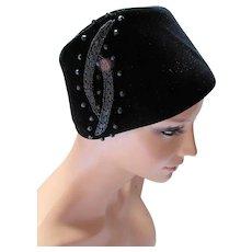 Black Velvet Hat with Beaded Trim Marshall Field & Co