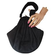 Black Evening Purse Flared and Pleated with Rhinestone Shield Shape Tab