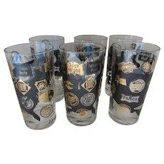 Mid Century HIgh Ball Tea Glasses Railroads Frank Maietta Set of 6