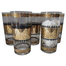 Vintage Culver Tall Glasses Mid Century Gold Tone Gilding with Black Accents