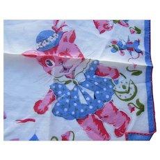 Child Handkerchief Hankie Pink Cats & Blue Mice
