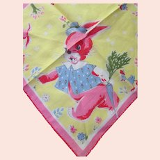 Child Handkerchief Pink & Blue Bunnies