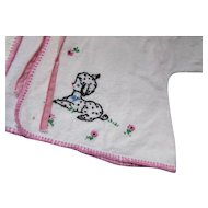 Cutest Infant or Doll Flannel Wrapper with Embroidered Black Lambs