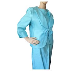 Three Piece Suit by Caron Chicago in Turquoise Shantung 1980 Style Mature Figure