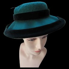 Wide Brim Hat in Intense Emerald Green with Feather Decoration by Chandra