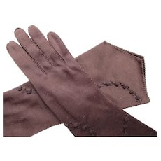 Ladies Long Gloves in Chocolate Brown with Half Circle Stitching Free Shipping USA