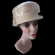 Vintage High Top Hat in Cream and Gold Brocade 1960 Style Sears Millinery