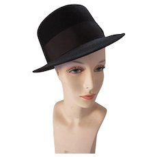Fedora in Black Felt Designed and Created by Newport Merino Felt Size 7 1/2