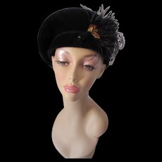Black Velour Beret Style Hat with Feather Accents by Betmar Made in USA