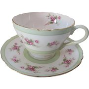 Dainty Shelley Cup and Saucer Fine Bone China Made in England Mint Green and Pink Roses Pattern 13247