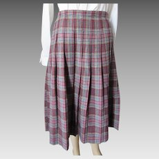 Genuine Pendleton Wool Pleated Plaid Skirt Gray with Yellow Red Black Stripes Size Large