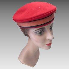 dc3143df7c7dd Sailor Style Beret in Lipstick Red Felt Hat That Lynwood Distinction  Glenover Henry Pollak. Maude s Vintage Ware