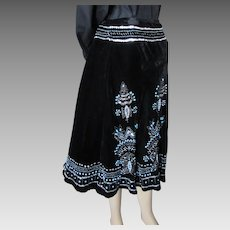 Carole Little Black Velveteen Skirt with Faux Turquoise and Silver Tone Beading Boho Style Size 8