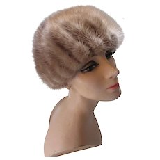 Fantastic Gored Mink Cloche or Helmet Hat in Palomino Shade by Deborah Exclusives Winter Hats