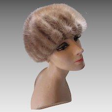 Fantastic Gored Mink Cloche or Helmet Hat in Palomino Shade by Deborah Exclusives Winter Hats