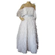 Prom Dress Formal Gown Wedding Dress Pristine White Layers of Lace Mike Benet 1960's 1970's
