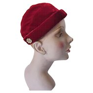 Cranberry Velvet Half Hat with Clear Rhinestone Spoke Decoration