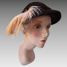 Handsome Mid Century Half Hat in Chocolate Brown with Peach Curved Feather New York Creations